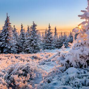 Lysá hora - zimní východ slunce